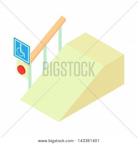 Ramp for the disabled with information sign icon in cartoon style on a white background