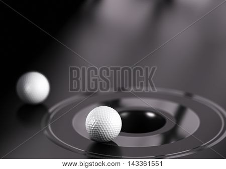 3D illustration of golf ball near a hole. Black background