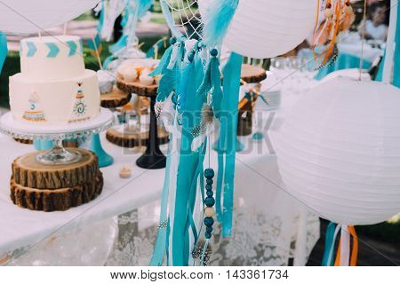 Design kids birthday parties, family celebrations, children's birthday party in boho style with the dream catchers, sweets and lemonade