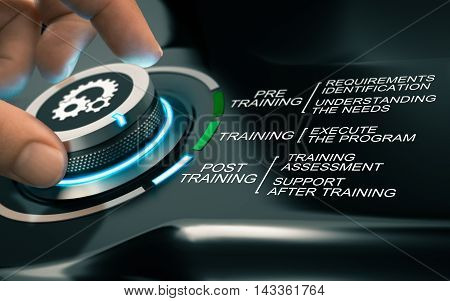 Hand turning a knob with gears symbols and different program steps. Concept of online training process. Composite image between a photography and a 3D background.