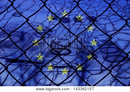 Eu flag and fence - Refugee crisis concept