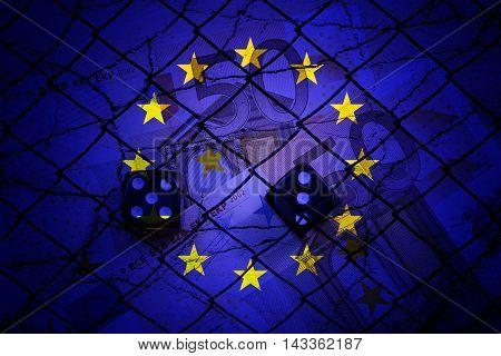 50 euros banknotes, dices, cracks fence an EU flag