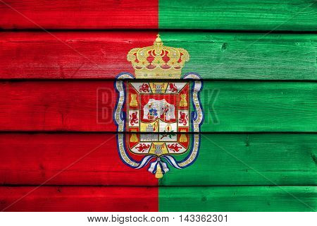 Flag Of Granada, Spain, Painted On Old Wood Plank Background