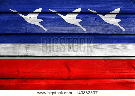 Flag Of Guaratingueta, Sao Paulo, Brazil, Painted On Old Wood Plank Background
