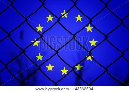 EU flag and fence - Politic concept