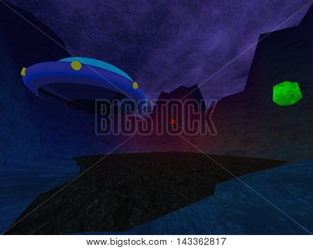 Dark crater with UFO in mountains background, 3D illustration