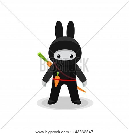 Vector illustration of standing cute bunny ninja with carrot isolated on white background