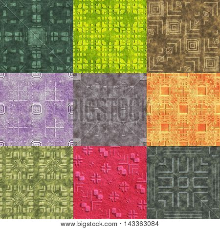 Set of stone pattern generated seamless textures, 3D illustration
