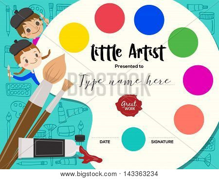 little artist kids diploma child painting course certificate template with art palette background