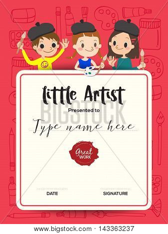 little artist kids diploma child painting course certificate template