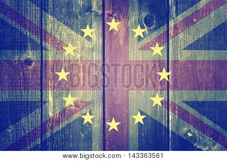 Brexit - United Kingdom flag, EU flag, cracks and euros