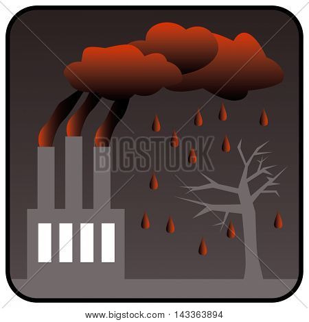Environment Polluting Factory with three chimneys generating toxic air pollution and Acid Rain. Vector illustration