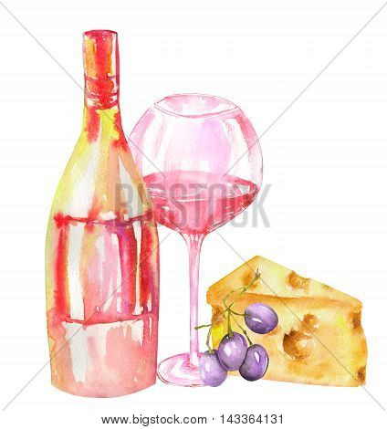 An illustration of the isolated watercolor bottle of the red wine (champagne), glass with red wine, cheese and violet grape. Painted hand-drawn in a watercolor on a white background.