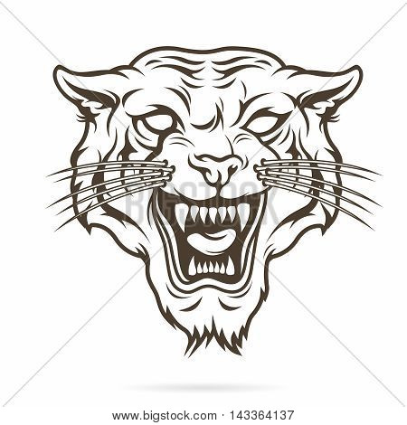 Vector Tribal Tattoo Illustration of Angry Aggressive Tiger Face with Open Mouth and Canines showing