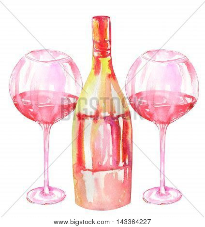 Image of the isolated watercolor glasses of red wine and wine (champagne) bottle. Painted hand-drawn in a watercolor on a white background.