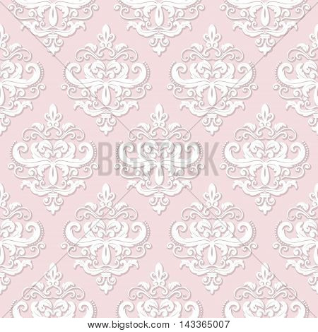 Damask seamless pattern background in pastel pink.