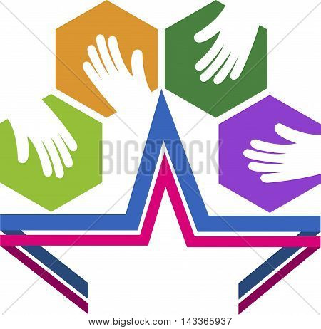 Illustration art of a star hands logo with isolated background