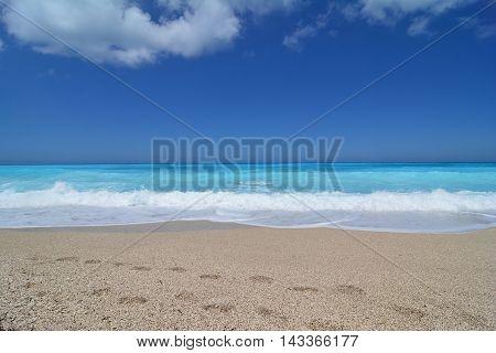 Turquoise water of famous Kathisma beach Lefkada island Greece