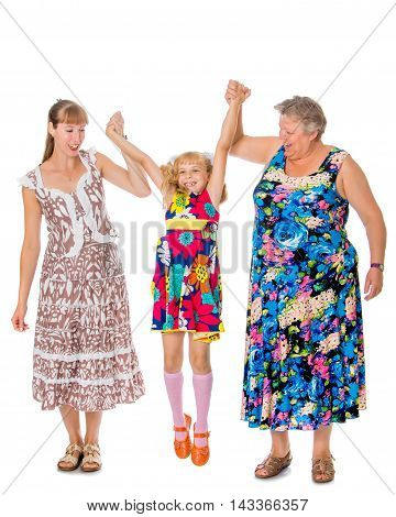 Mother, young daughter and beloved grandmother to hold hands-Isolated on white background