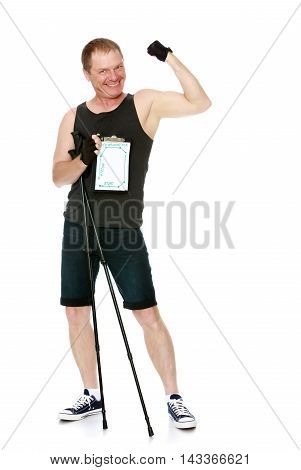 Man in t-shirt and shorts, with sticks for Nordic walking, the poster shows the route of the path travelled -Isolated on white background