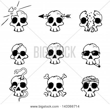 Cartoon damaged skulls Halloween design element set, vector illustration, horizontal, isolated, over white