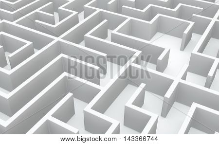White abstract labyrinth walls background 3d illustration horizontal