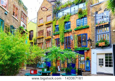 London UK - August 2, 2016 - Neal's Yard a small alley in Covent Garden area