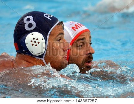Budapest, Hungary - Jul 17, 2014. Romania's CHIOVEANU Mihnea (ROU, 8). The Waterpolo European Championship was held in Alfred Hajos Swimming Centre in 2014.