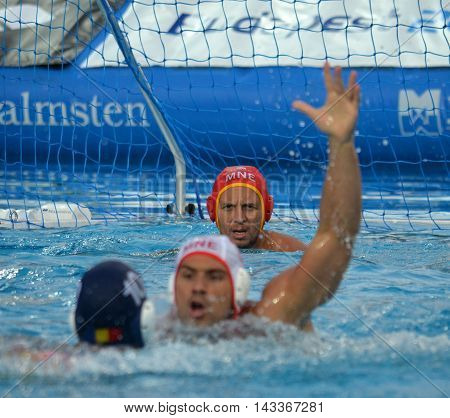 Budapest, Hungary - Jul 17, 2014. Focus on the Montenegro's RADIC Zdravko (MNE, 1) goalkeeper.  The Waterpolo European Championship was held in Alfred Hajos Swimming Centre in 2014.