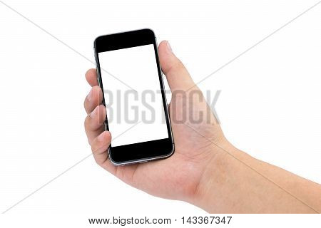 Hand holding the black smartphone on white background