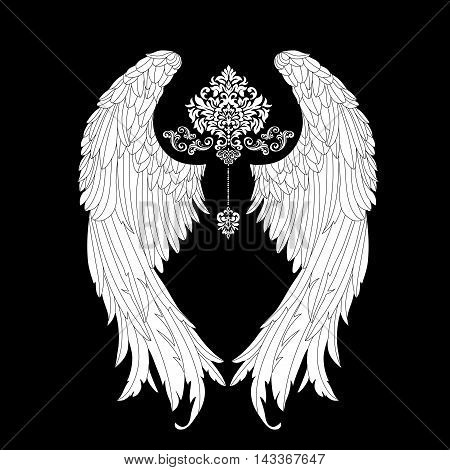 vector, gothic ,Hand drawn angel wings .