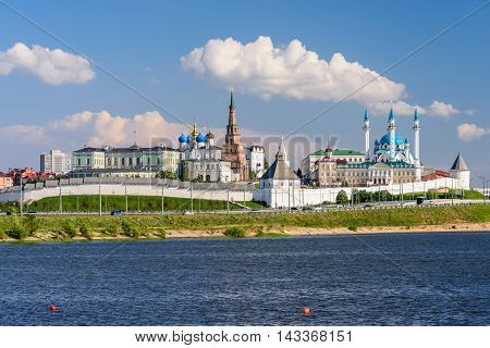 Kazan, Russia - June 11, 2016: View of the Kazan Kremlin with Presidential Palace, Annunciation Cathedral, Soyembika Tower and Qolsharif Mosque from Kazanka River in the June 11, 2016, Kazan, Russia.