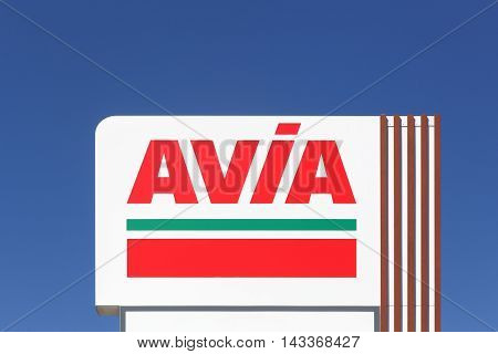 Annemasse, France - August 14, 2016: AVIA sign on a panel. AVIA International company is represented by more than 2900 petrol stations in 14 European countries
