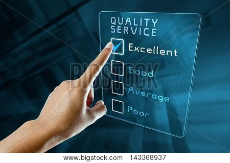 hand clicking online quality service survey on virtual screen interface