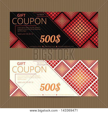 Gift voucher with bright halftone design. Gift card template. Coupon discount set.
