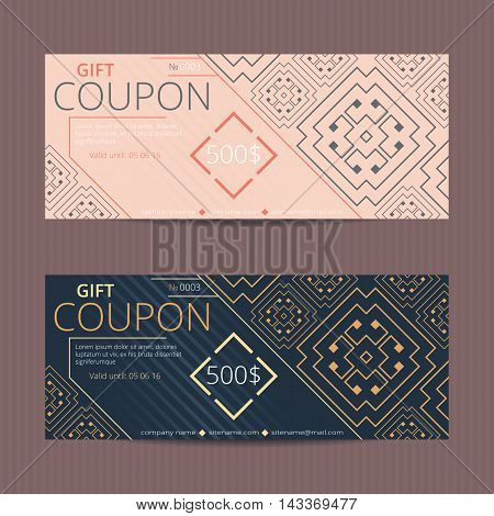 Gift voucher with greek design. Gift card template. Coupon discount set with meander design.