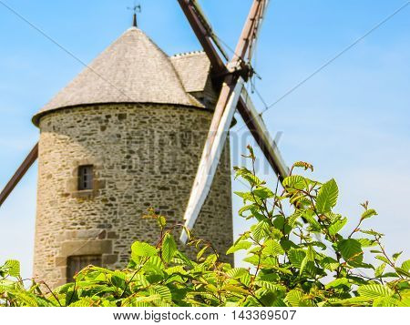 Old Stone Windmill. Landscape of Normandy, France. Selective focus