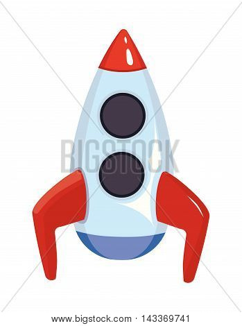 Vector cartoon illustration of space rocket ship. Toy for kids isolate on white background. Picture in modern flat style for your personal design project