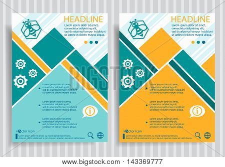 Bee In The Hexagon Web Symbol On Vector Brochure Flyer Design Layout Template