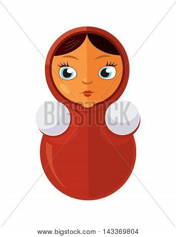 vector illustration of red Tumbler toy. Matryoshka Russian traditional doll isolate on white background. Picture in modern flat style