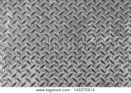 texture floor steel metal Old rusty to prevent slipping Pattern background.