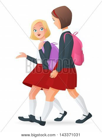 Two young girls in uniform talking on the way going back to school. Cartoon vector illustration isolated on white background.
