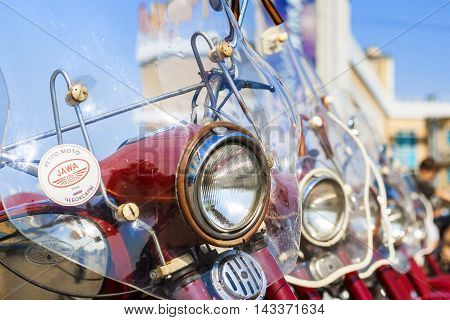 Exhibition Of Old Soviet Motorcycle Java Outdoors During The Holiday Of The Day The City Of Cheboksa
