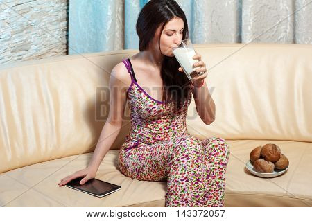 Beautiful Young Woman Drinking Milk At Home02