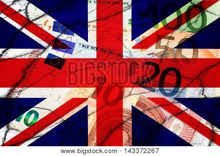 United Kingdom flag, cracks and euros . Finance concept
