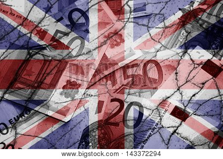 United Kingdom flag, cracks and euros - Finance concept