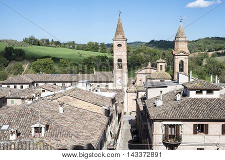 old street of medieval town in Italy, View of ancient medieval houses in Italy, landscape background