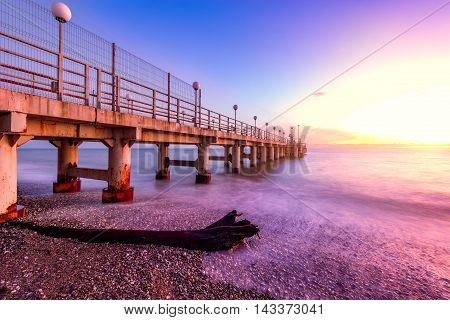 View of the pier at sunset time. Sochi Russia