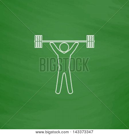 Weightlifting Outline vector icon. Imitation draw with white chalk on green chalkboard. Flat Pictogram and School board background. Illustration symbol