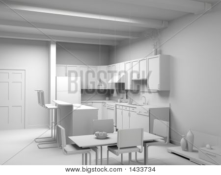 Blank Modern Kitchen Interior